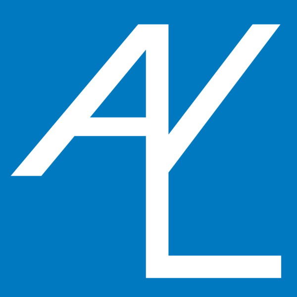 A square blue and white logo with the letters 'AYL' overlapping in the centre.