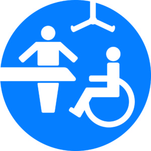 A blue Changing Places logo with white icons representing a wheelchair user, adult sized changing table and a hoist.