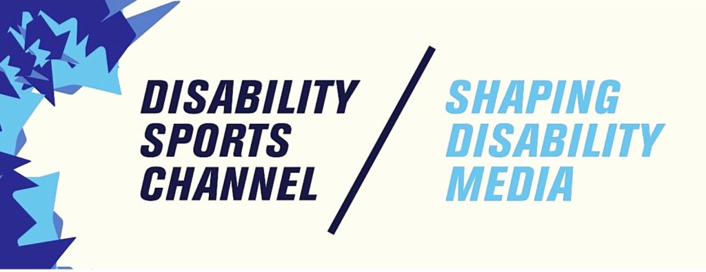 """A blue and white Disability Sports Channel banner, with the words """"shaping disability media"""" written underneath."""