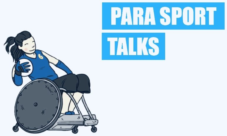 "A light blue banner with a cartoon wheelchair basketball player and the words ""Para Sports Talk"" written alongside."