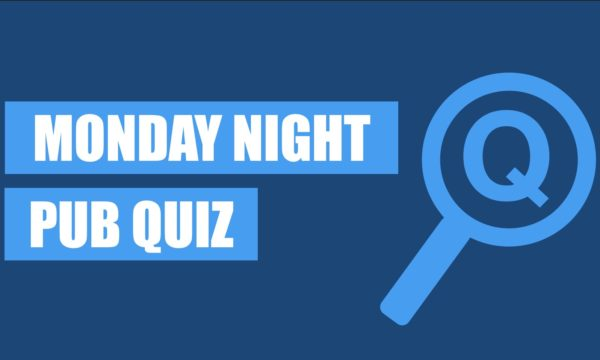 """A blue banner with a magnifying glass icon and the words """"Monday Night Pub Quiz"""" written alongside."""