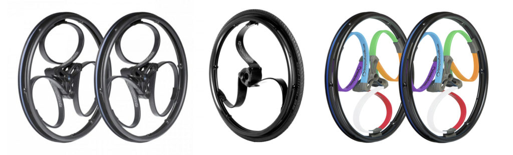 A trio of Loopwheels showing the various colour options available, including black carbon fibre and multicoloured classics.