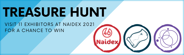 """A blue and black AYL Treasure Hunt banner with the words """"visit 11 exhibitors at Naidex 2021 for a chance to win""""."""