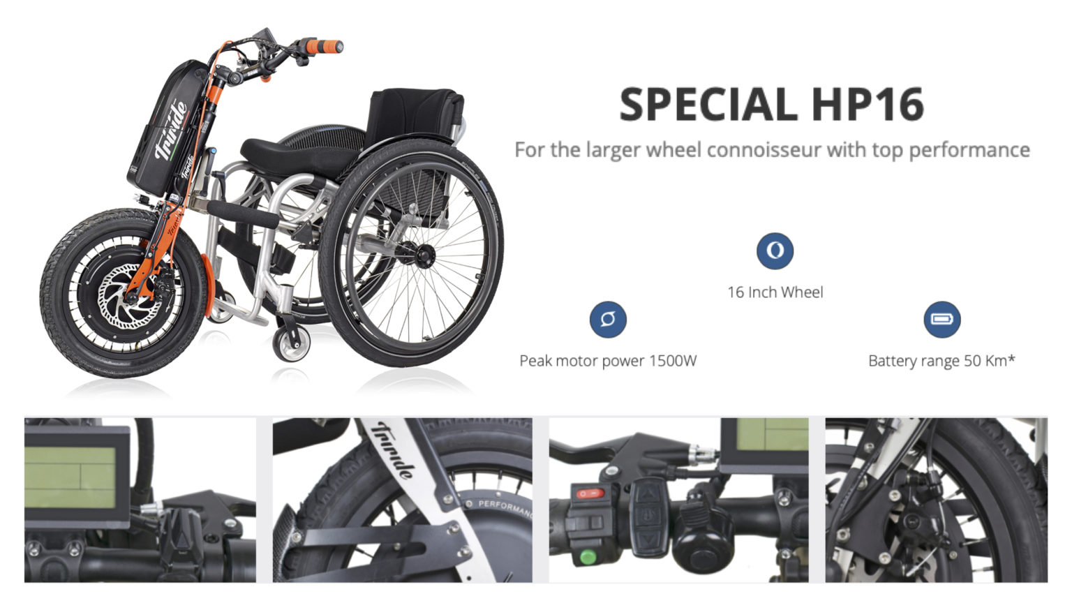 Various images showing the different features of the 'Special HP16' powered wheelchair attachment.