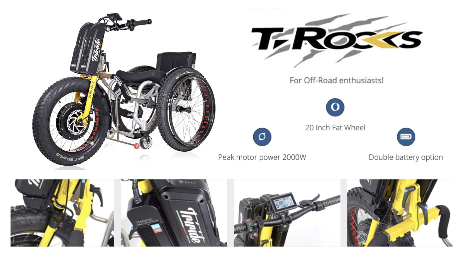 Various images showing the different features of the 'T-Rocks' powered wheelchair attachment.