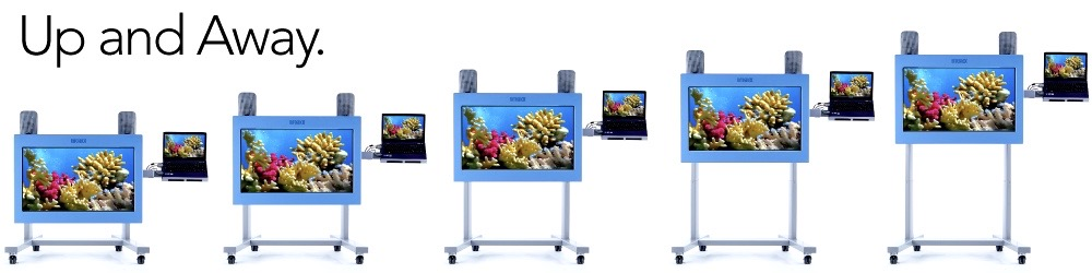 Five interactive VisiLift+ sensory screens positioned at different heights.
