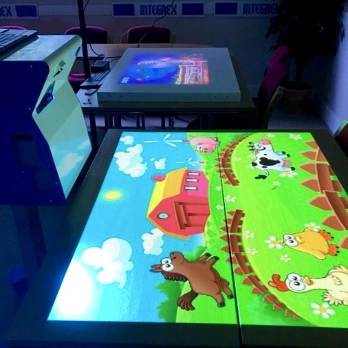 A portable interactive sensory game called SENse Mini, which is projected onto a classroom table.
