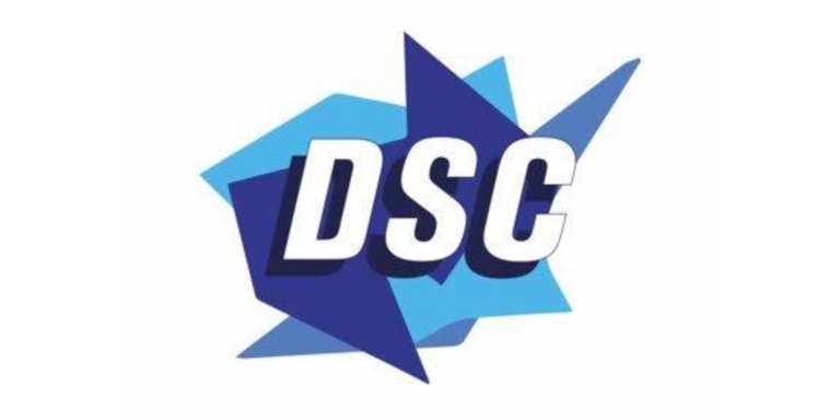 """Blue and white Disability Sports Channel logo with the letters """"DSC"""" written in the centre."""