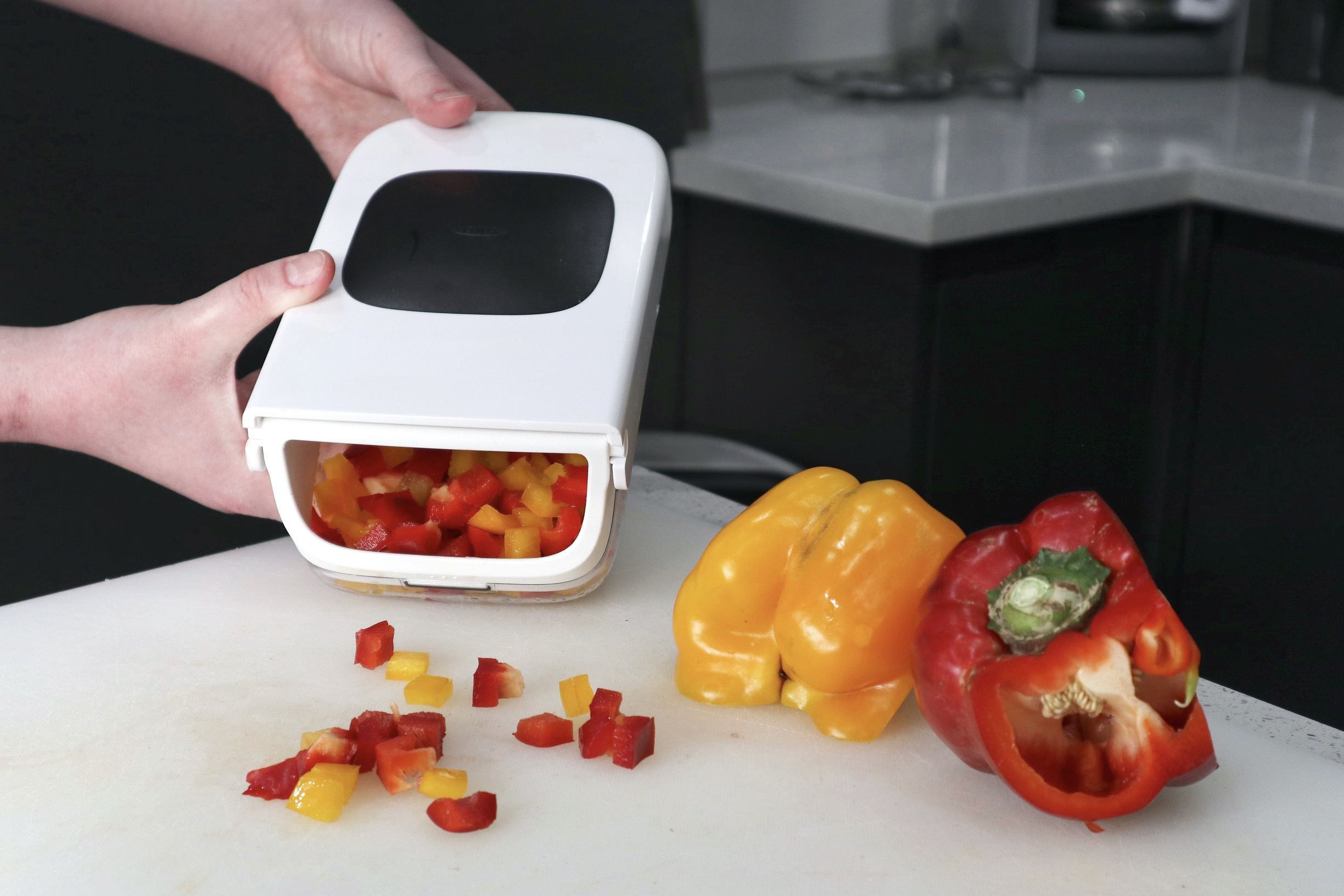 Vegetable Chopper With A White Lid & Clear Base