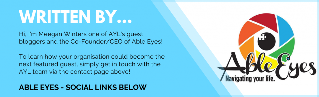 A blue banner with information on the writer of this blog - Meegan Winters, the Co-Founder/CEO of Able Eyes.