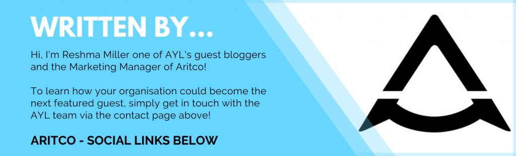 A blue banner with information on the writer of this blog - Reshma Miller, the Marketing Manager of Aritco!