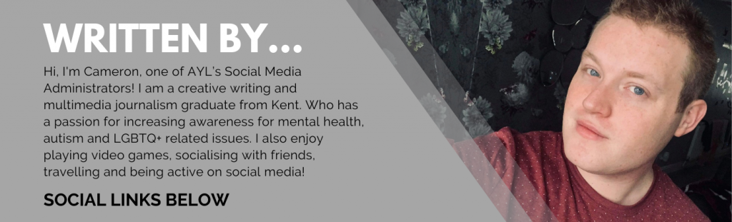 A grey banner with information on the writer of this blog - Cameron! Along with an image of Cameron standing against dark floral wallpaper. He is wearing a maroon and white polka dots t-shirt, whilst smiling directly at the camera.