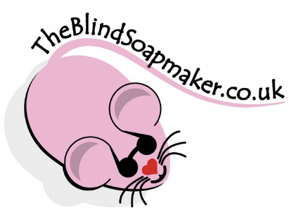 The BlindSoapmaker company logo. A pink cartoon mouse with black sunglasses on, with the Blindsoapmaker website written in black text along its tail.