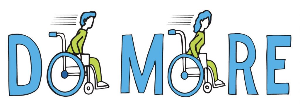 """Blue text with the letter """"o"""" replaces with a cartoon wheelchair user. The wheelchair frame is blue to match the text, and the persons outfit is green."""
