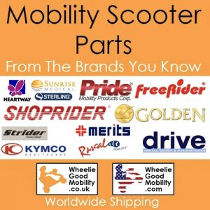 On an orange background, there is text that reads 'Mobility Scooter Parts From The Brands You Know'. There are a number of logos for mobility brands, including Pride Mobility and Shoprider. The Wheelie Good Mobility UK and US logos are at the bottom, and below there is text that reads 'Worldwide Shipping'.